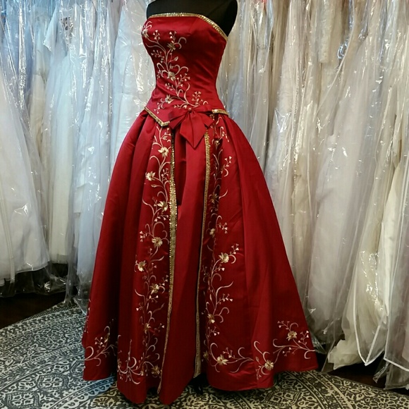 33b312298e6 Claret Red and Gold Royal Ballgown